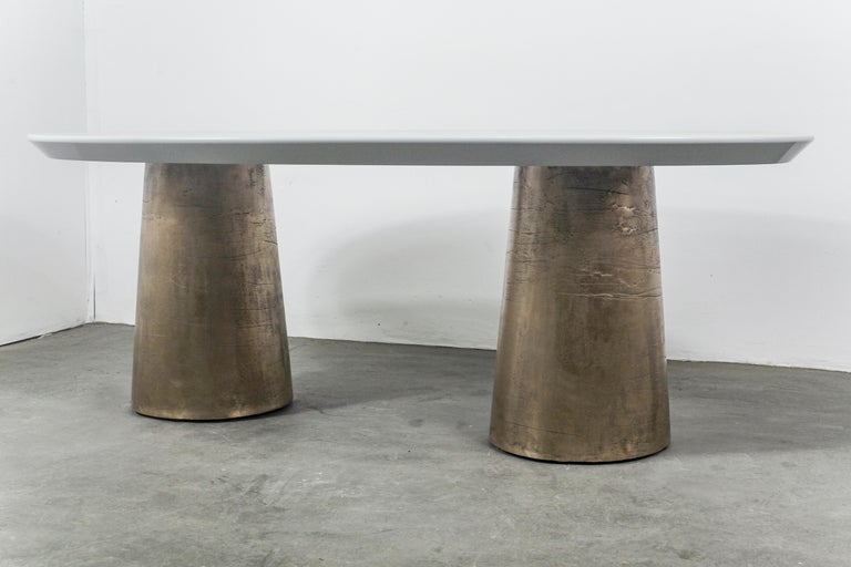 Benino Custom Oil Rubbed Cast Bronze Twin Pedestal Lacquered Oval Dining Table In New Condition For Sale In New York, NY