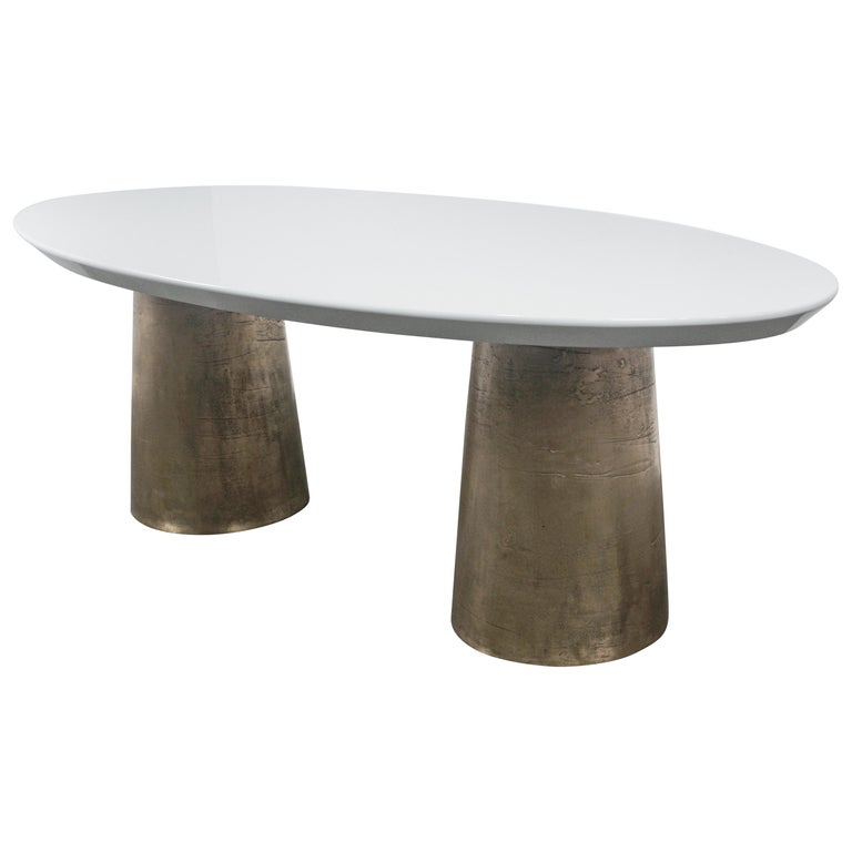 Benino Custom Oil Rubbed Cast Bronze Twin Pedestal Lacquered Oval Dining Table For Sale