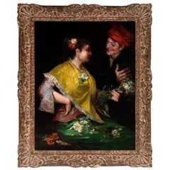 Benito Belli Untitled Late 19th Century Oil on Canvas Painting of Spanish Couple