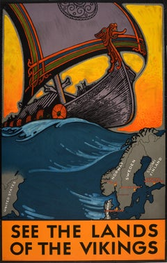 Original Vintage Travel Poster See The Lands Of The Vikings Atlantic Sailing Map