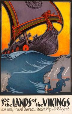 """See the Lands of the Vikings"" Original Vintage Scandinavian Travel Poster"