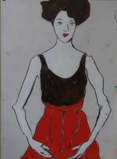 white and red dress, Painting, Oil on Paper