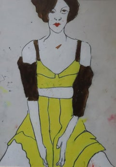 white portrait woman, Painting, Oil on Paper