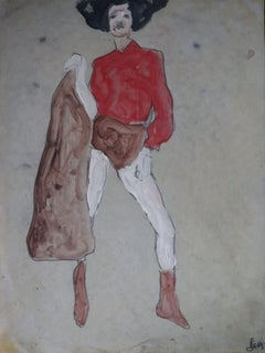woman in red, Painting, Oil on Paper
