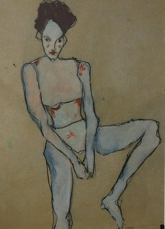 woman with brown hair, Painting, Oil on Paper