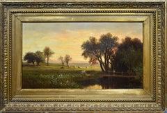 Antique American Hudson River School Landscape Sunset Cows & Figure Oil Painting