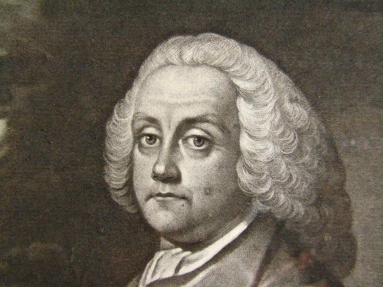 Benjamin Franklin; a mezzotint engraving on laid paper by James McArdell after Benjamin Wilson titled