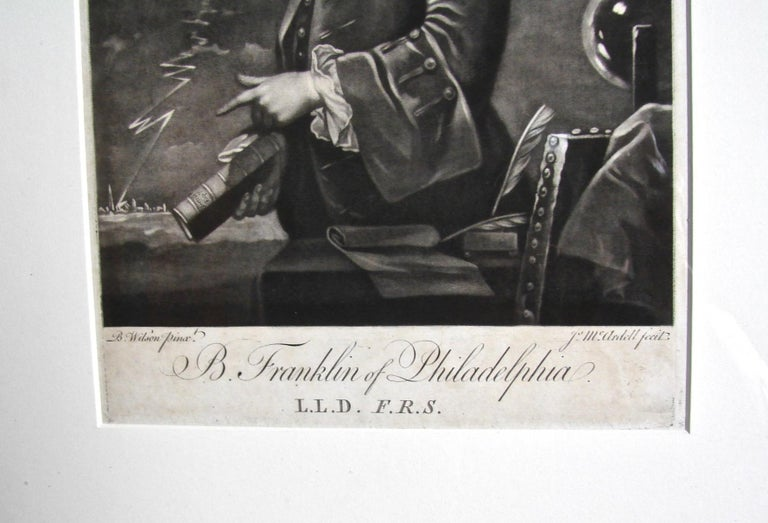 Benjamin Franklin Mezzotint Engraving by McArdell In Good Condition For Sale In San Francisco, CA