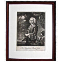 Fine and Rare Benjamin Franklin Mezzotint by James McArdell Circa 1760