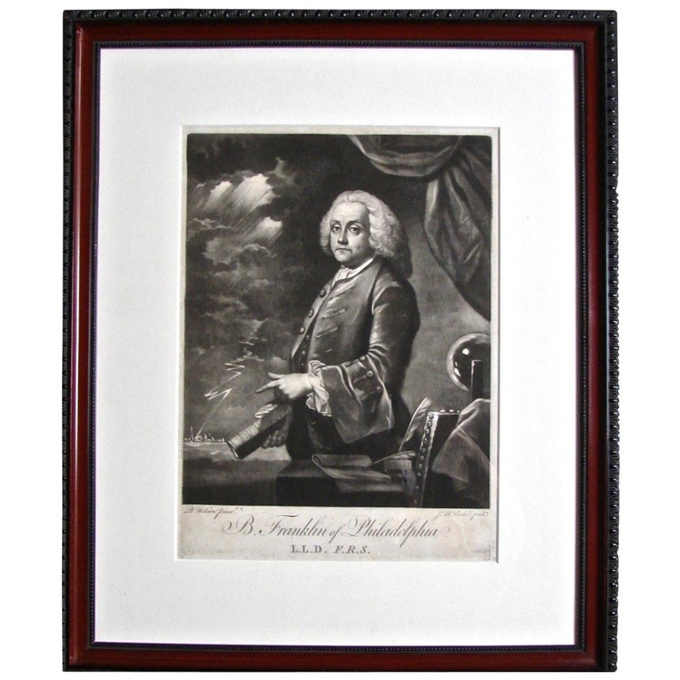 Benjamin Franklin Mezzotint Engraving by McArdell For Sale