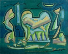 A Charm Against All Evils, Modern Cubist Painting by Benjamin Benno 1941