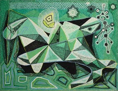 An Evocation on Man and Nature, Abstract Cubist Painting by Benjamin Benno 1939