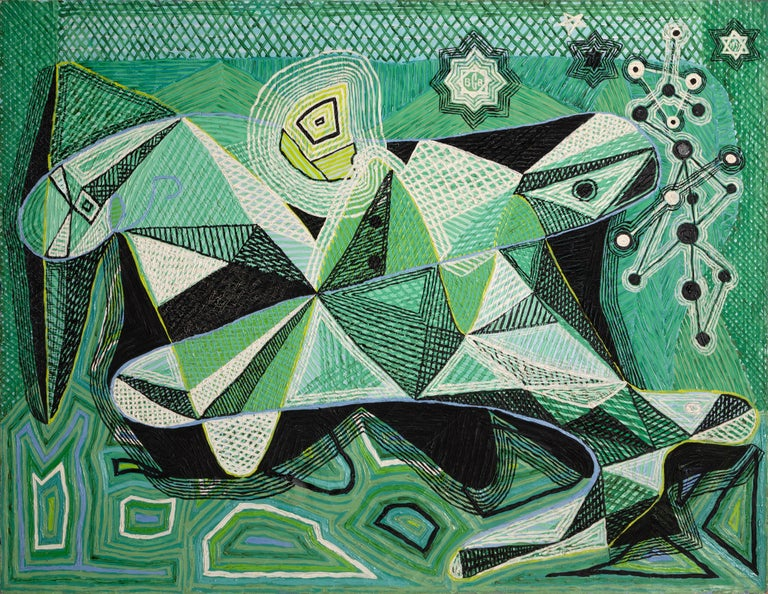 Benjamin G. Benno Abstract Painting - An Evocation on Man and Nature, Abstract Cubist Painting by Benjamin Benno 1939
