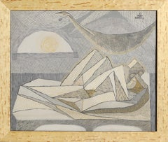 Lovers, Modern Cubist Painting by Benjamin Benno 1937