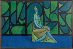 Seated Woman, Cubist Modern Painting by Benjamin Benno 1937