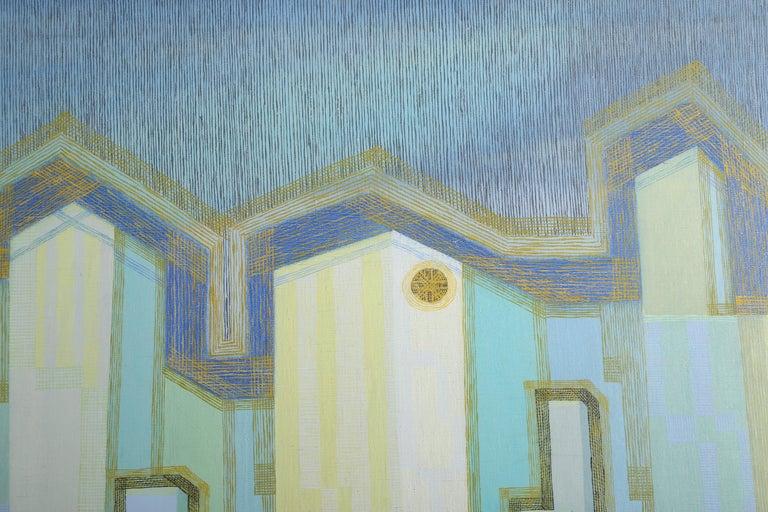 Skyscraper, Modern Painting by Benjamin Benno 1941 - Blue Landscape Painting by Benjamin G. Benno