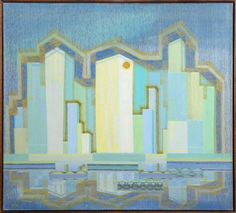 Benjamin G. Benno Landscape Painting - Skyscraper, Modern Painting by Benjamin Benno 1941