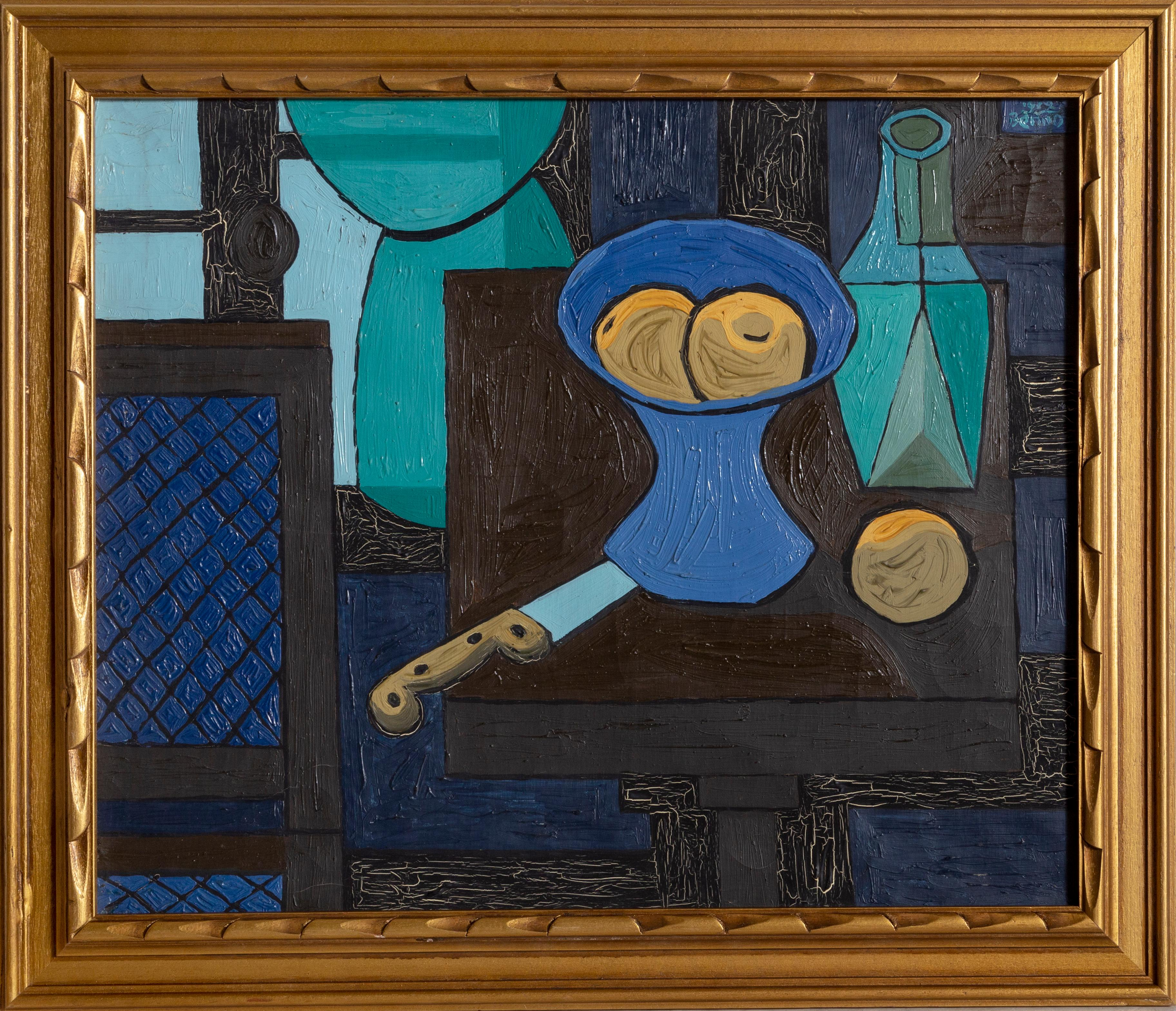 Still Life with Fruit and Knife, Modern Cubist Painting by Benjamin Benno 1939