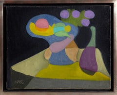 Still Life with Fruit, Vase and Flowers, Modern Painting by Benjamin Benno 1935
