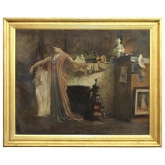 Woman posing in artist studio interior with antique objects