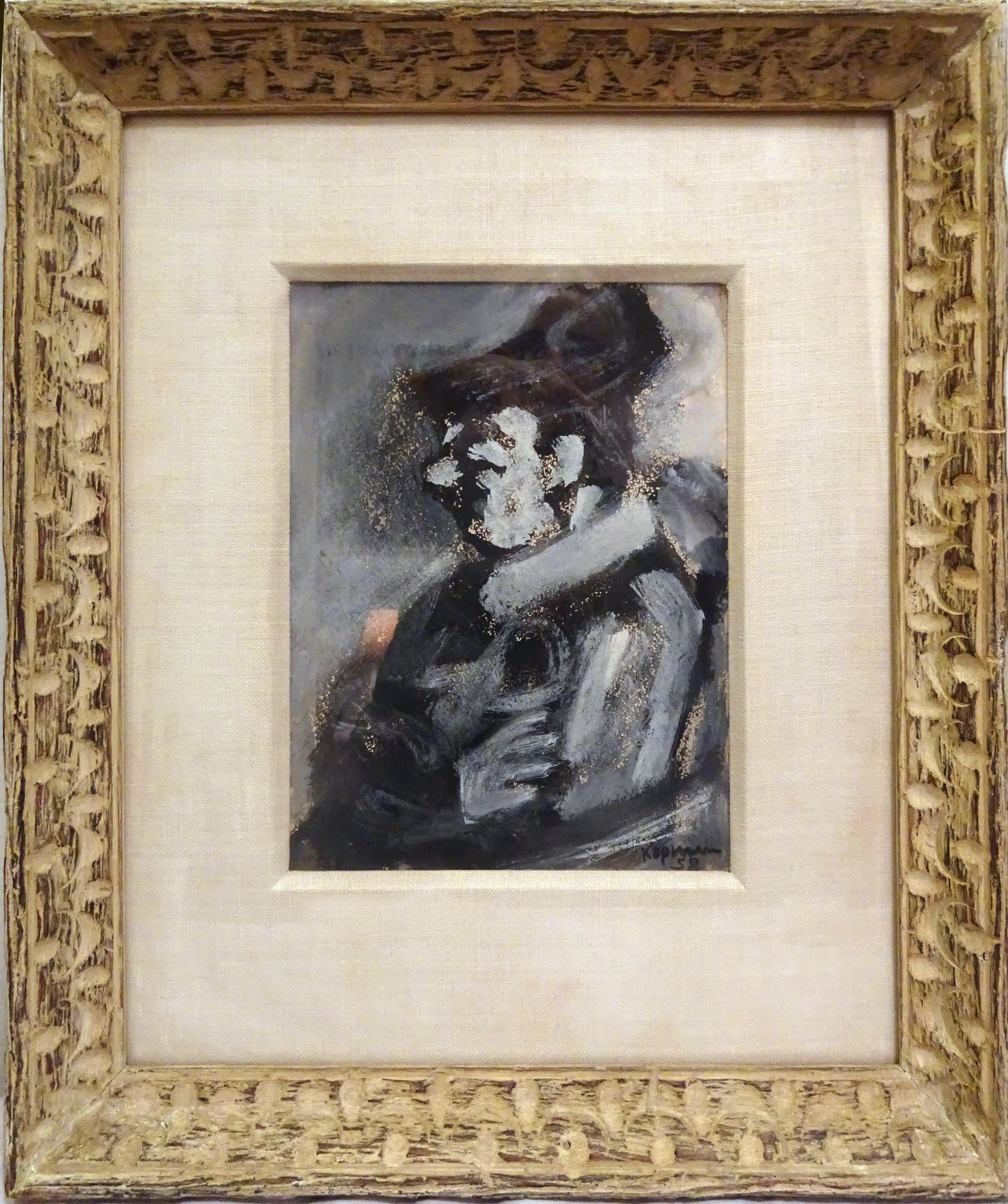 Portrait of a man in Profile, Gouache Painting by Benjamin Kopman