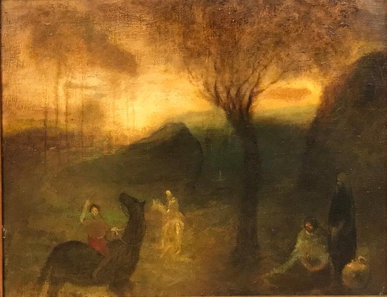 The Hunters - Variations in Brown - Green - Tonalist Painting by Benjamin Kopman