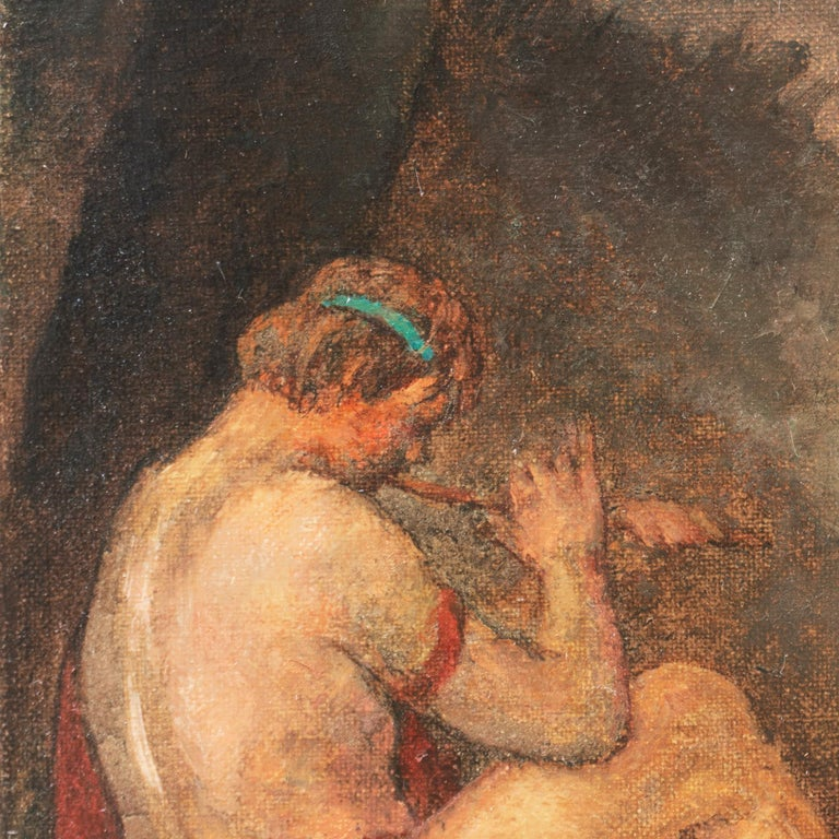 WPA Symbolist Figural Oil 'The Shepherd's Twilight Song' in Carrig-Rohane Frame For Sale 3