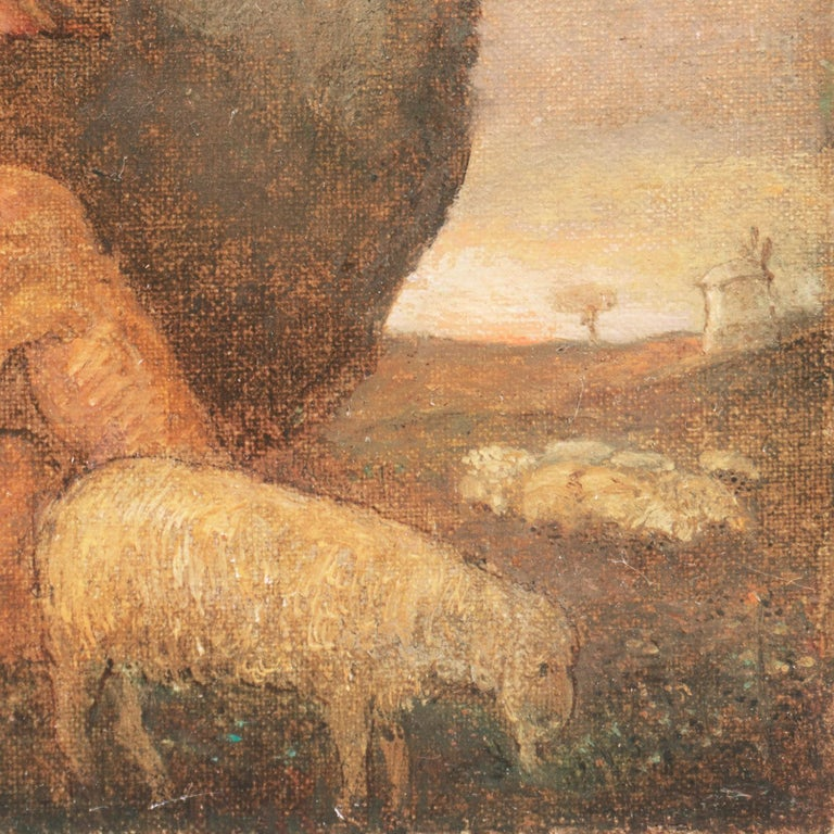 WPA Symbolist Figural Oil 'The Shepherd's Twilight Song' in Carrig-Rohane Frame For Sale 4
