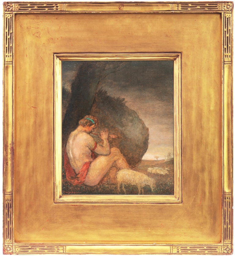 An early twentieth-century, Symbolist style landscape with a shepherd in the foreground shown seated beneath a tree and playing the flute with a view beyond towards a windmill and the setting sun. Framed in a hand-carved and gold-leafed frame,