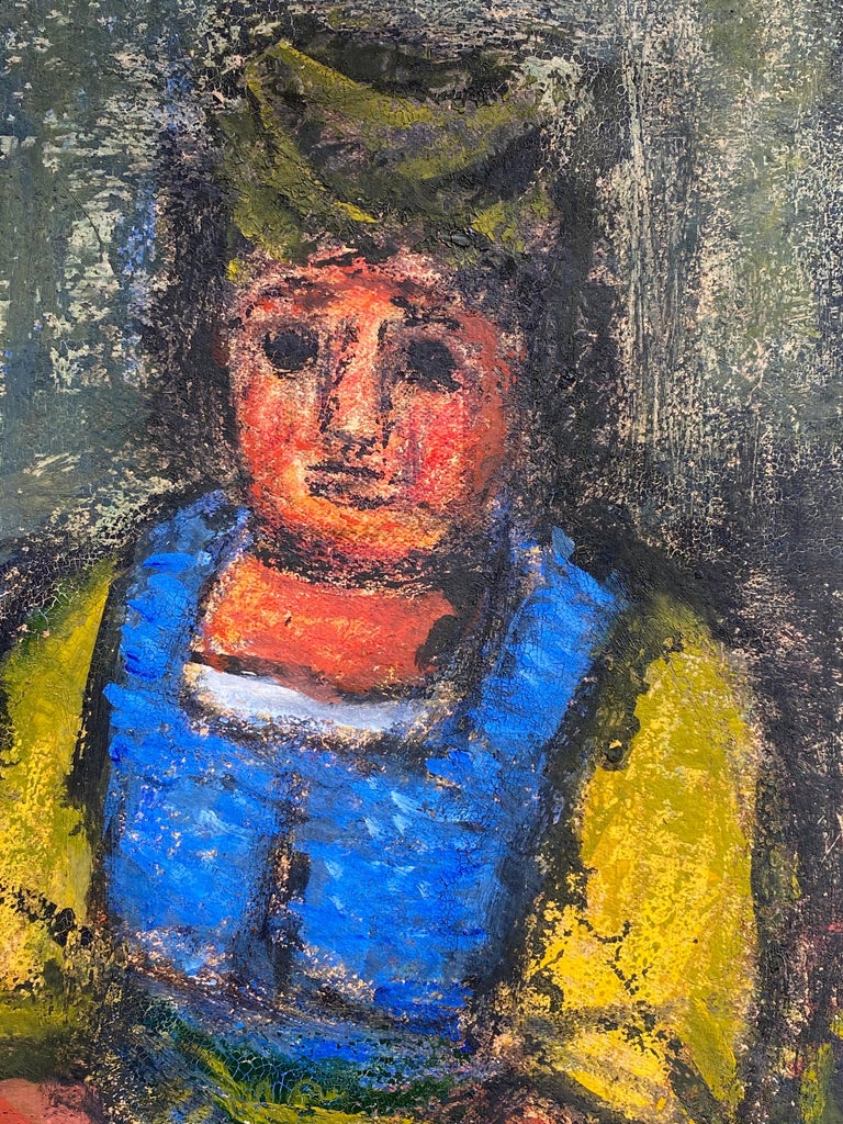 """""""Woman in Blue and Yellow"""" - Painting by Benjamin Kopman"""