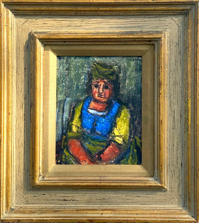 Original mixed media of  watercolor, gouache and oil pastel on archival paper of a older woman in a blue and yellow chemise by the well known American artist, Benjamin Kopman. Signed in black top right. Condition is very good with no restorations.