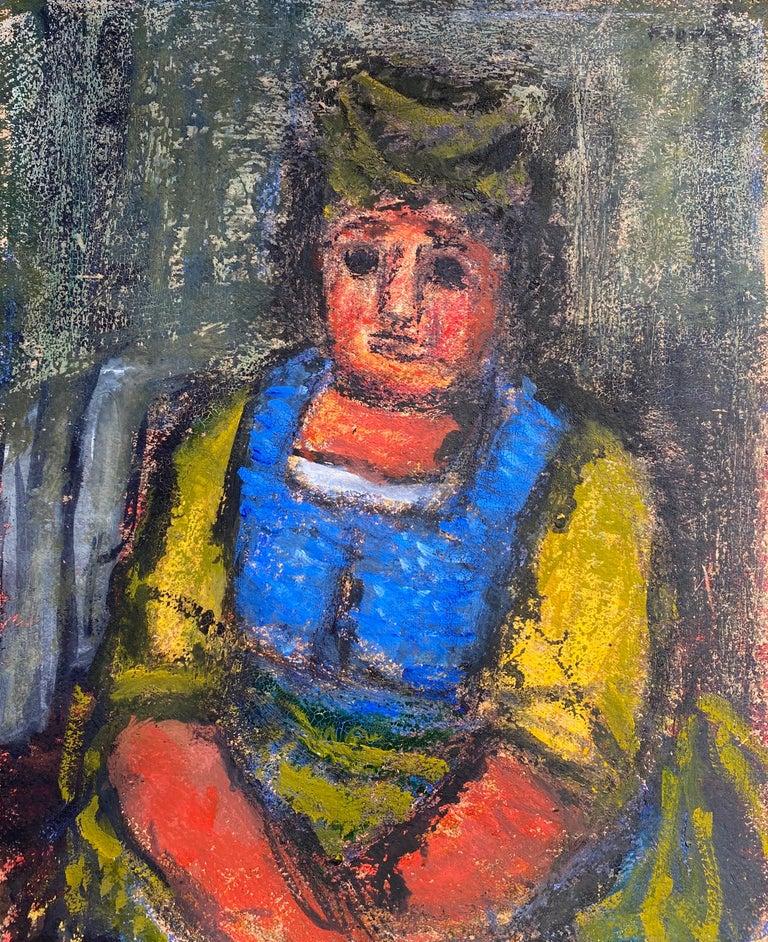 "Benjamin Kopman Portrait Painting - ""Woman in Blue and Yellow"""