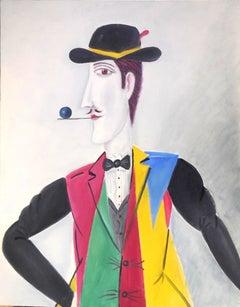 Israeli Surrealist Gentleman Dandy Figure, Benjamin Benny Levy Oil Painting