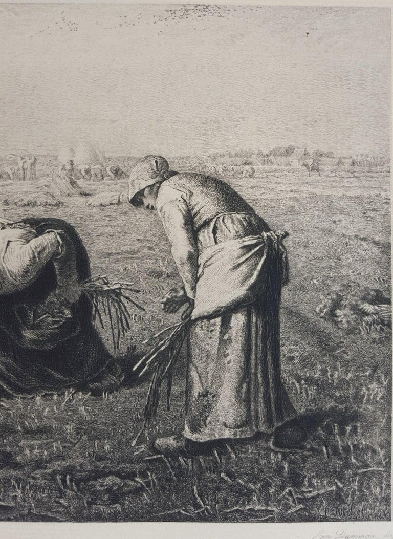 The Gleaners - Gray Figurative Print by Benjamin-Louis-Auguste Damman
