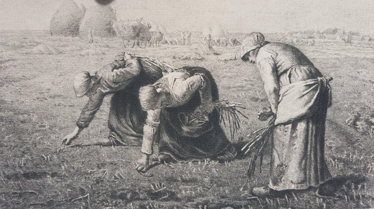 An original etching on laid paper by French artist Benjamin-Louis Auguste Damman (1835-1921) after French artist Jean-François Millet (1814-1875) titled
