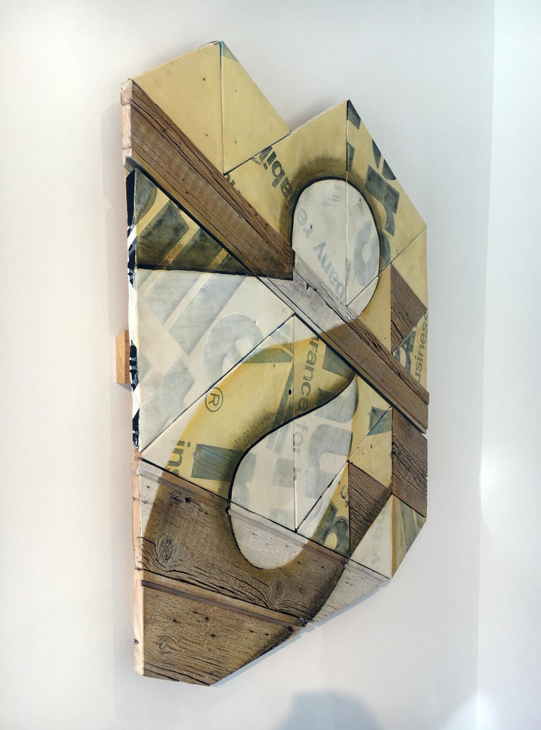 Contemporary Mixed Media Wall Sculpture, Assembled and Painted Wood and Metal - Brown Still-Life Sculpture by Benjamin Lowder