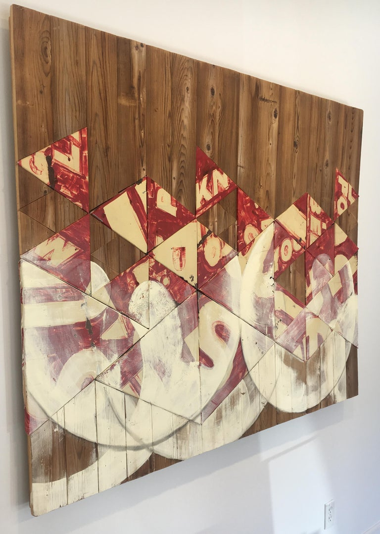 Contemporary Mixed Media Wall Sculpture, Reclaimed Wood and Vintage Metal Sign - Abstract Geometric Mixed Media Art by Benjamin Lowder