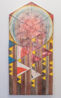 """Sun and Moon Download"", Contemporary Mixed Media Wall Art with Reclaimed Wood"