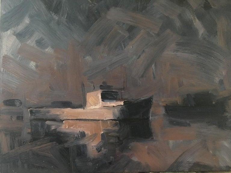 Benjamin Lussier Landscape Painting - Boats in Fog