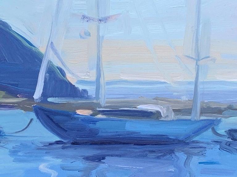 Still Harbor - Gray Landscape Painting by Benjamin Lussier