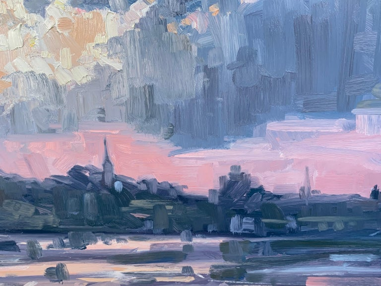 Sunset Over Portsmouth - Gray Landscape Painting by Benjamin Lussier