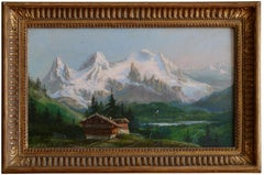 Benjamin Netter, Chalet in the Mountains, Oil on Canvas