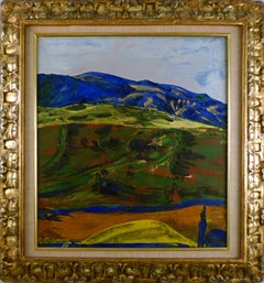 """""""The Blue Mountain"""", 20th Century Oil on Canvas by Benjamin Palencia"""