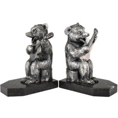 Benjamin Rabier Art Deco Bookends Bear with Guitar, France, 1930
