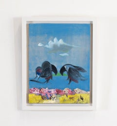 «Two birds» oil painting of two dancing birds in a mating ritual