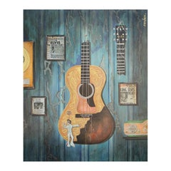 """""""The Broke Guitar of Elvis"""" Large Contemporary Mixed Media Painting"""