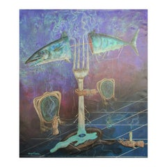 """""""The Last Supper"""" Purple Large Scale Modern Surrealist Abstract Painting"""