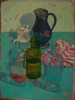 """""""Bottles on Blue Green"""" original still life oil on copper by Benjamin Shamback"""