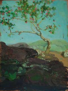 """Camellia Tree by Pool"" original landscape oil on copper by Benjamin Shamback"