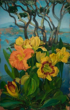 """Day Lilies in Grove of Trees"" original oil on copper by Benjamin Shamback"
